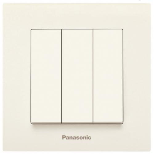 Выключатель 3-кл (без рамки) кремовый Panasonic Karre plus (WKTT00152BG-BY)