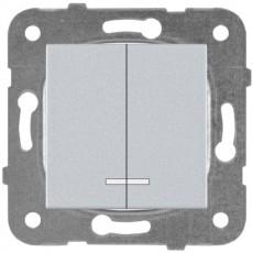 Выключатель 2-кл с индикацией серебро
