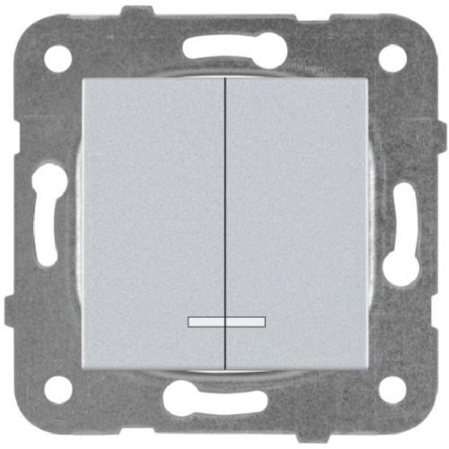 Выключатель 2-кл с индикацией серебро Panasonic Karre plus (WKTT00102SL-BY)