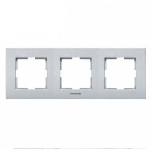 Рамка 3-постовая серебро Panasonic Karre plus (WKTF08032SL-BY)