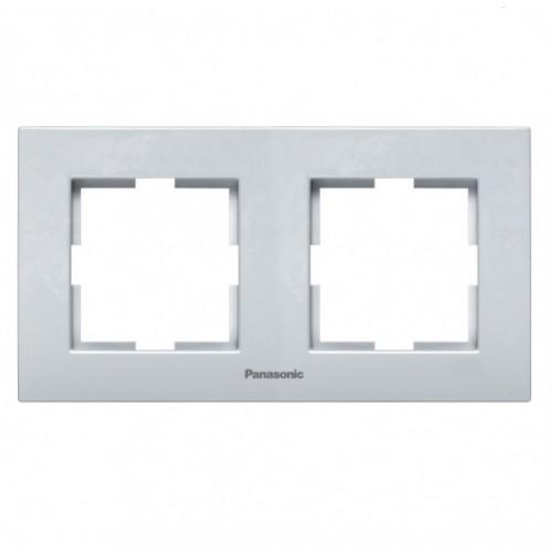 Рамка 2-постовая серебро Panasonic Karre plus (WKTF08022SL-BY)