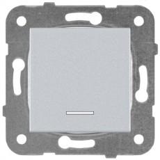 Выключатель 1-кл с индикацией серебро