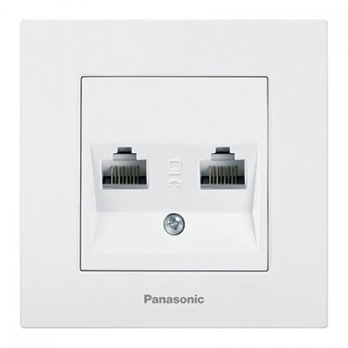 Розетка компьютерная (2 порта) (без рамки) белая  Panasonic Karre plus (WKTT04062WH-BY)