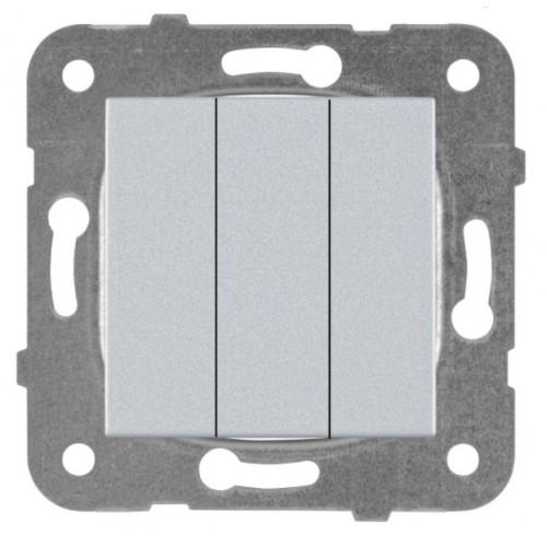 Выключатель 3-кл (без рамки) серебро Panasonic Karre plus (WKTT00152SL-BY)
