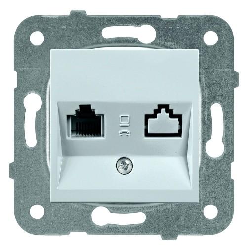 Розетка компьютерная (без рамки) серебро Panasonic Karre plus (WKTT04042SL-BY)