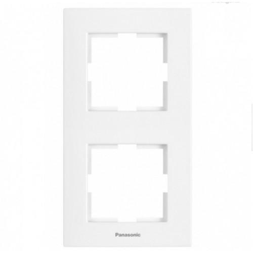 Рамка*2 вертикальная белая Panasonic Karre plus (WKTF08122WH-BY)