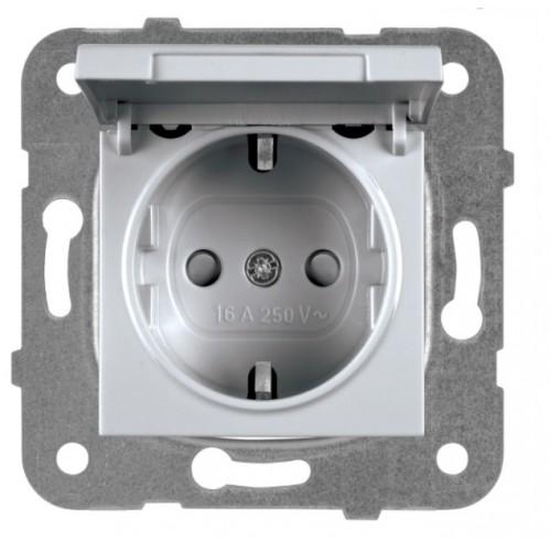 Розетка с крышкой (без рамки) серебро Panasonic Karre plus (WKTT02102SL-BY)