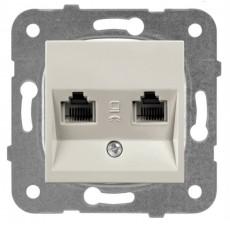Розетка компьютерная (2 порта) бронза