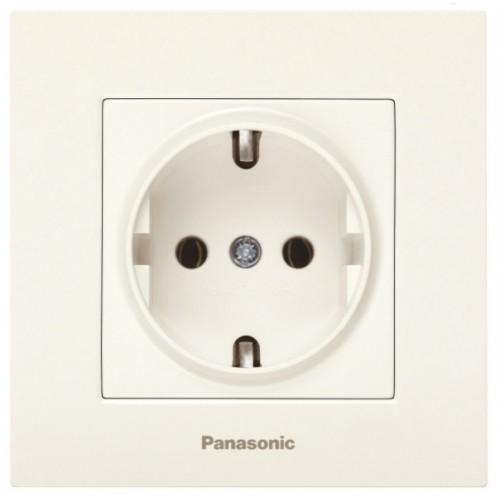 Розетка с/з (без рамки) кремовая Panasonic Karre plus (WKTT02022BG-BY)