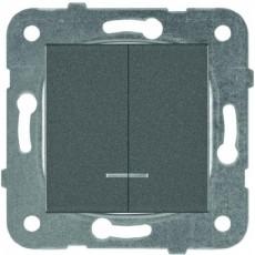 Выключатель 2-кл с индикацией дымчатый
