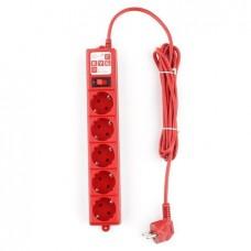 Сетевой фильтр B 3.0м 5 розеток красный