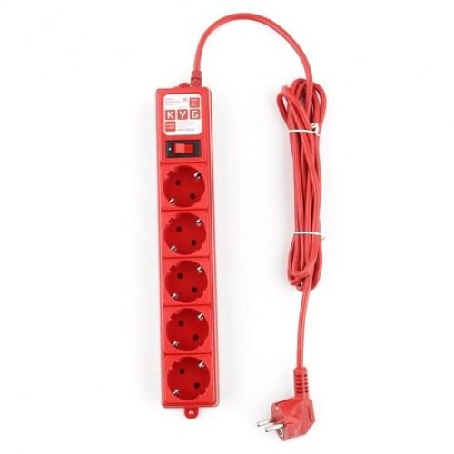 Сетевой фильтр B 3.0м 5 розеток красный Power Cube     (SPG-MXTR-14)