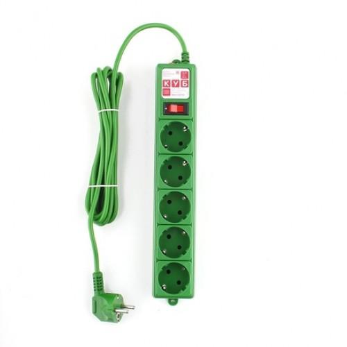 Сетевой фильтр B 3.0м 5 розеток зеленый Power Cube  (SPG-MXTR-13)