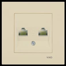 Розетка компьютерная (2 порта) без рамки кремовая
