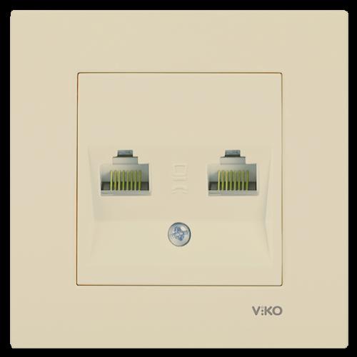Розетка компьютерная (2 порта) в разборе кремовая Viko Karre (90967234)
