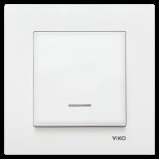 Выключатель 1-кл c индикацией (без рамки) белый