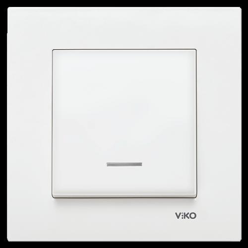 Выключатель 1-кл c индикацией (без рамки) белый Viko Karre (90963619)