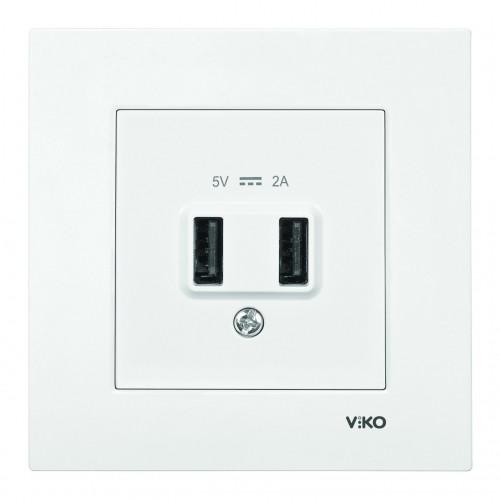 Розетка USB (без рамки) белая Viko Karre (90961017)