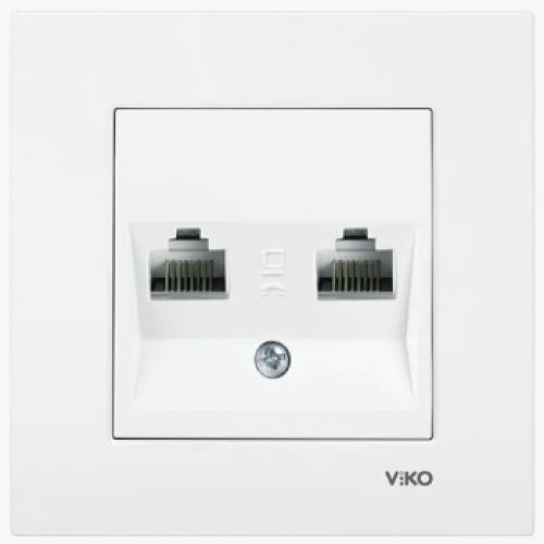 Розетка компьютерная (2 порта) без рамки белая Viko Karre (90964634)