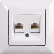 Розетка компьютерная (2 порта) (без рамки) белая