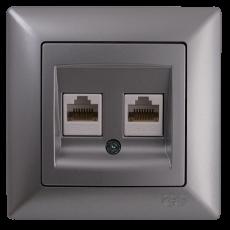 Розетка компьютерная (2 порта) серебро