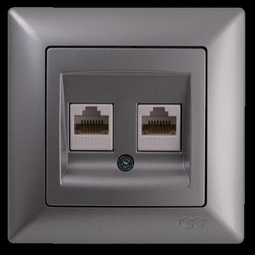 Розетка компьютерная (2 порта) серебро Gunsan Visage (01281500-157332)