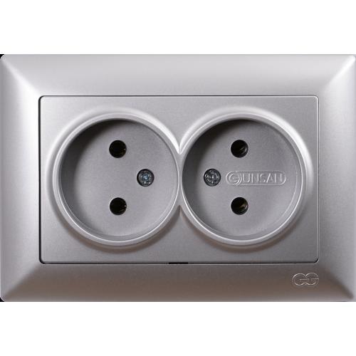 Двойная розетка (в сборе) серебро Gunsan Visage (01281500-100149)