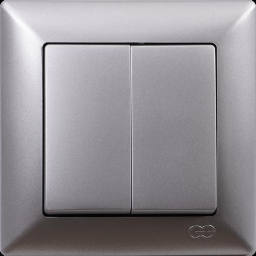 Выключатель 2-кл (без рамки) серебро  Gunsan Visage (01 28 15 00 150 103)