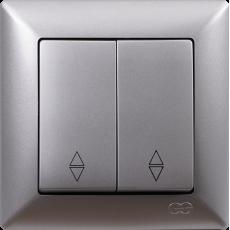 Вык-ль 2-кл проходной (без рамки) серебро