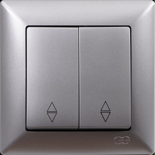 Выключатель 2-кл проходной (без рамки) серебро Gunsan Visage (01 28 15 00 150 109)
