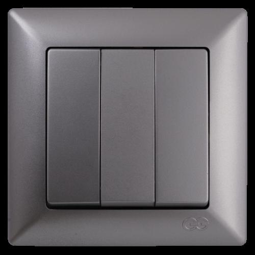 Выключатель 3-кл (без рамки) серебро  Gunsan Visage (01 28 15 00 150 160)