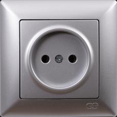 Розетка (без рамки) серебро