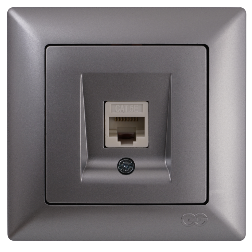 Розетка компьютерная серебро  Gunsan Visage (01281500-157129)