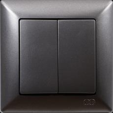 Выключатель 2-кл (без рамки) дымка