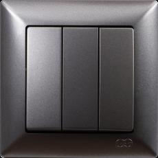 Выключатель 3-кл (без рамки) дымка