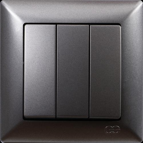 Выключатель 3-кл (без рамки) дымка  Gunsan Visage (01281700-150160)