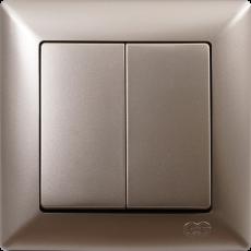Выключатель 2-кл (без рамки) мет.бежевый 01282500-150103