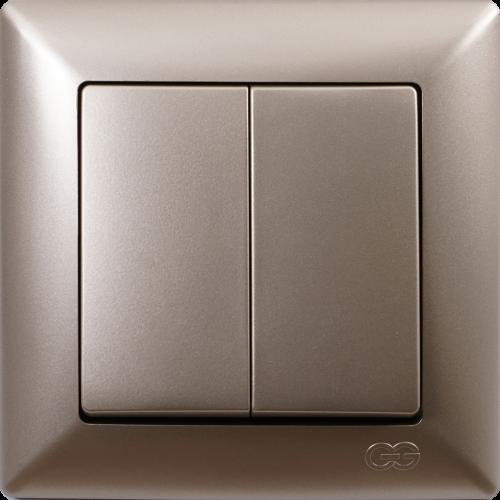 Выключатель 2-кл (без рамки) мет.бежевый 01282500-150103 Gunsan Visage (01282500-150103)