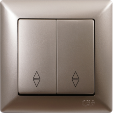 Выключатель 2-кл проходной (без рамки) мет.бежевый