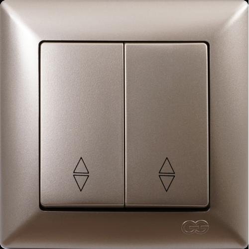 Выключатель 2-кл проходной (без рамки) мет.бежевый Gunsan Visage (01282500-150109)