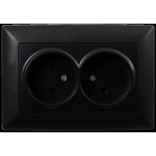 Двойная розетка (в сборе) черная Gunsan Visage (01283400-100149)