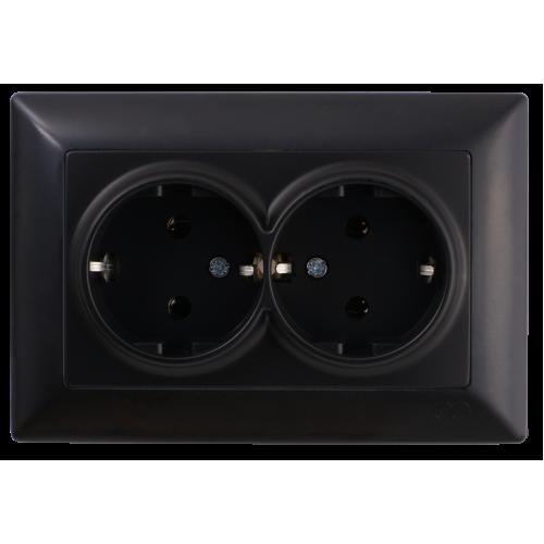 Двойная розетка с/з черная Gunsan Visage (01283400-100150)