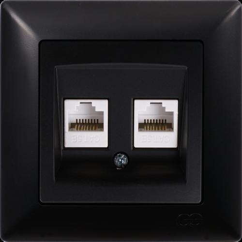 Розетка компьютерная (2 порта) черная  Gunsan Visage (01283400-157332)