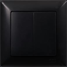 Выключатель 2-кл (без рамки) черный