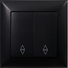 Выключатель 2-кл проходной (без рамки) черный