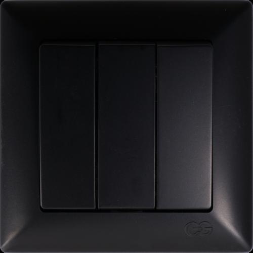 Выключатель 3-кл (без рамки) черный  Gunsan Visage (01 28 34 00 150 160)