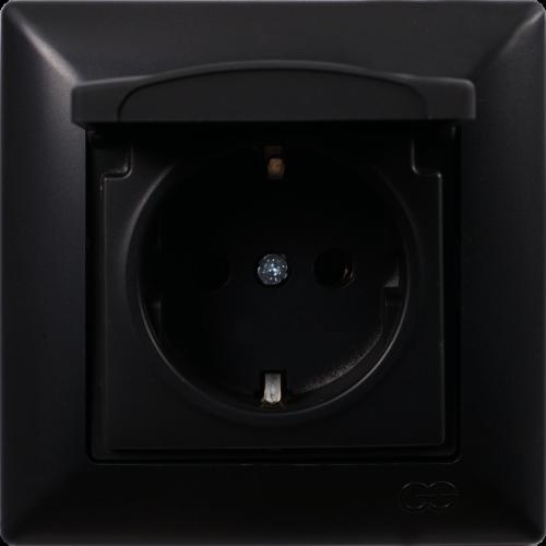 Розетка с крышкой (без рамки) черный Gunsan Visage (01 28 34 00 152 117)