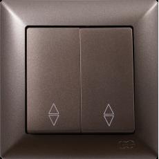 Выключатель 2-кл проходной (без рамки) антрацит