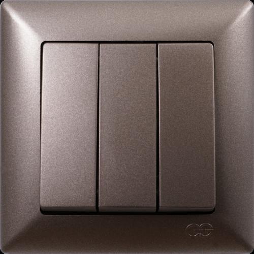 Выключатель 3-кл (без рамки) антрацит  Gunsan Visage (01283500-150160)