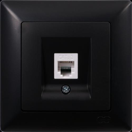 Розетка ТЛФ (без рамки) черный  Gunsan Visage (01 29 34 00 150 120)